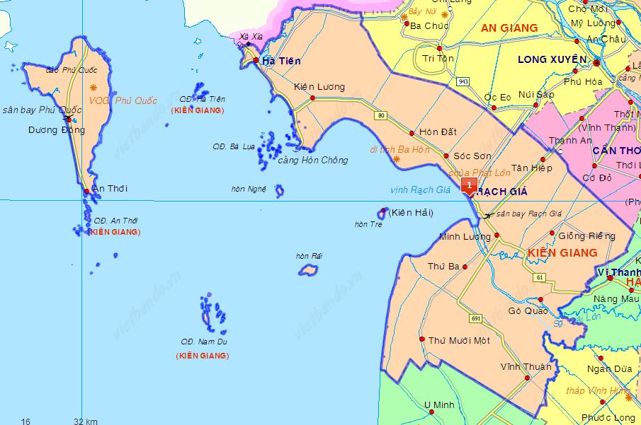 Bản đồ tỉnh Kiên Giang